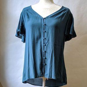 Modcloth fun2fun button down short sleeve blouse